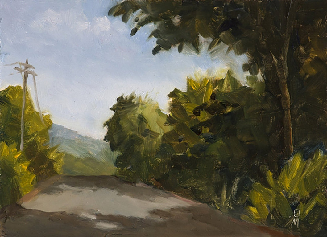 A sunny landscape painting with dappled light falling on a road flanked by tall trees.