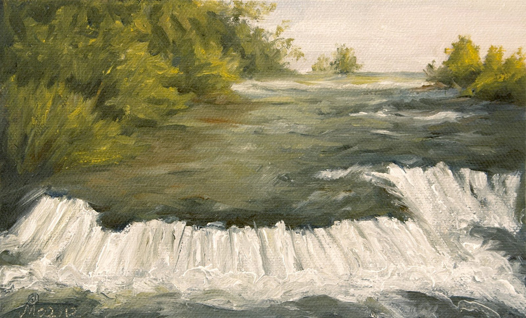 A sunny landscape painting of small waterfalls near the three sisters island just before the Niagara Falls.