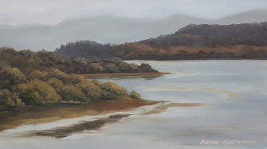 Oil painting showing backwater of a dam and surrounding hills in morning light.