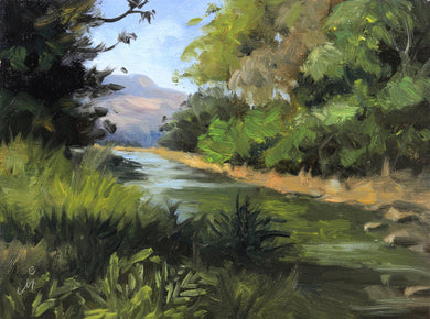 A sunny landscape painting of a stream flowing through a wooded area in Mulshi.