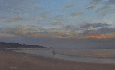 Seascpae painting showing a dusk on a beach with sunset colors in the sky and 2 people walking on the beach.