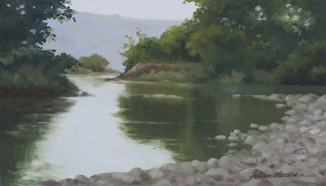 Oil painting of trees and their reflection on calm water of a stream.