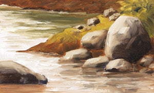 A sunny landscape painting of river boulders at the edge of water.
