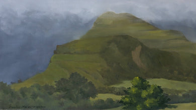 Oil painting of a large mountain shrouded in monsoon clouds during rainy season.