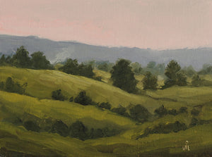 Landscape painting of a rolling hills and silhouetted trees at dusk.