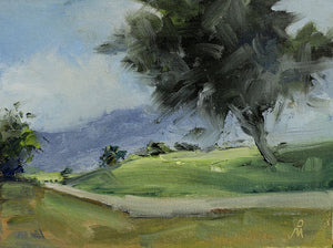 Landscape painting of a big tree, hills and a country road.