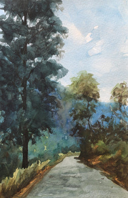 Landscape painting of dappled light falling on a road flanked by tall trees in a hilly area.