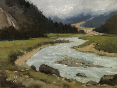Landscape painting of the Teesta river in the Yumthang valley.