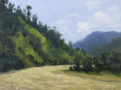 Landscape painting of a bend in a river, flowing through steep wooded hills. The sky is blue but has a few white clouds.