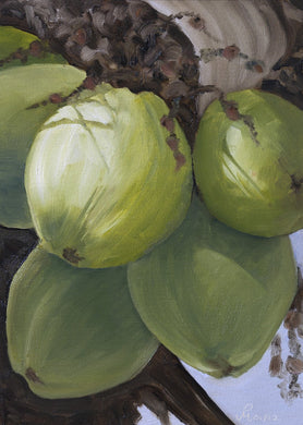 Oil painting of tender coconuts.