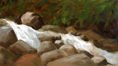 Oil painting of water cascading through boulders during rainy season.
