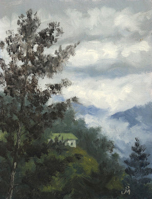 Landscape painting of a white cottage nestled in a steep wooded hill. Blue hills in the background are partially covered by clouds.