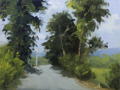 A sunny landscape painting of a road passing through a group of tall green trees. Some white clouds are seen in the blue sky above.