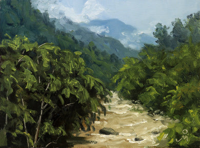 Landscape painting of the Teesta river flowing through the dense forests of Sikkim.