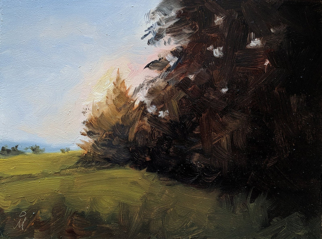 Landscape painting of setting sun peeping through a silhouetted treeline.