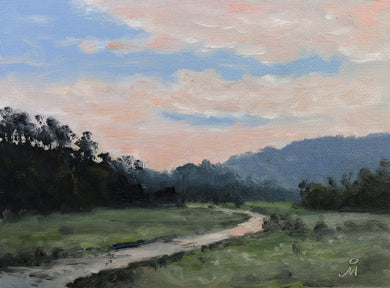 Landscape painting of the Teesta river flowing into the plains of North India.