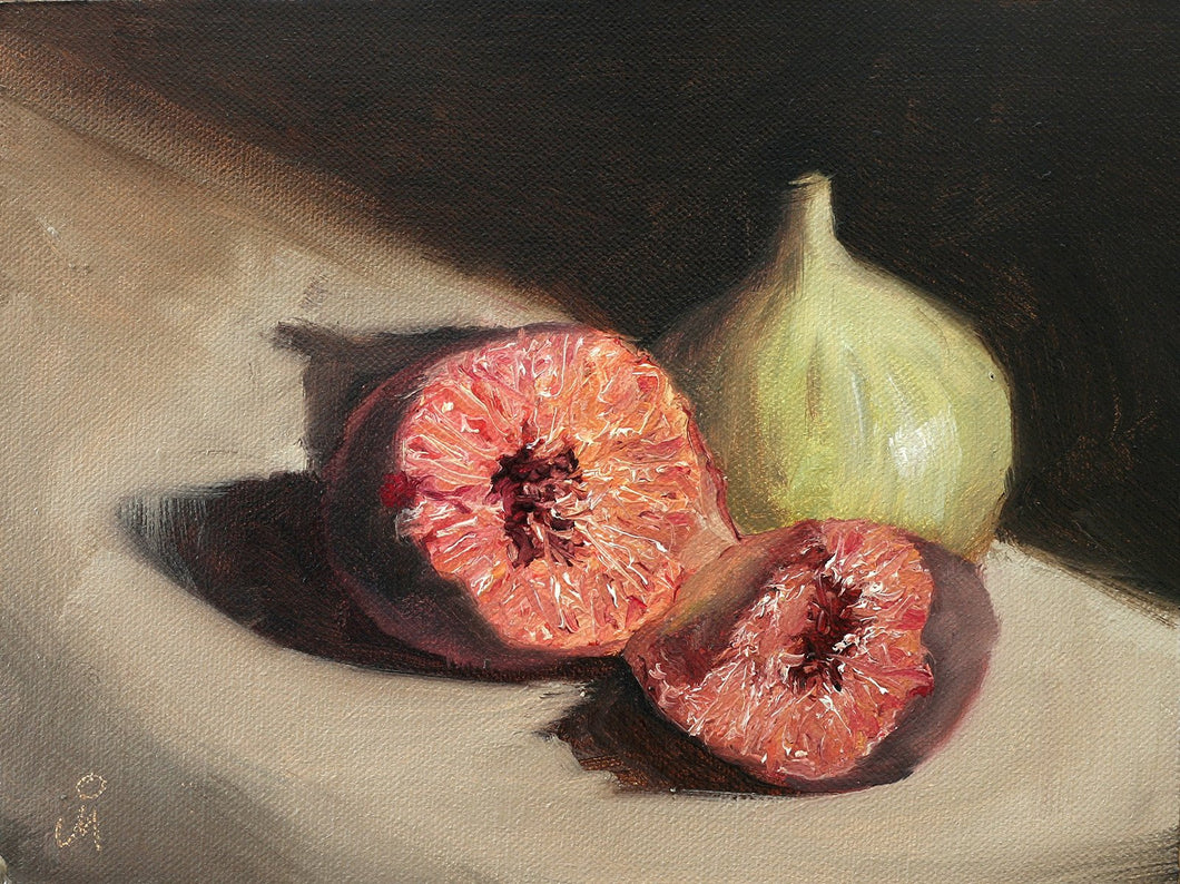 Oil painting of two figs.