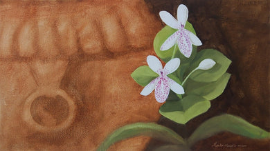 Oil painting of two white flowers on a small garden plant.