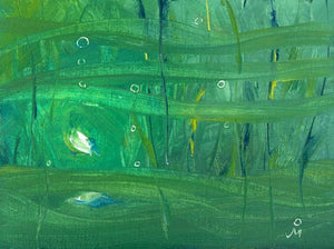 Abstract painting painted mainly in green color suggesting undercurrents in sea.