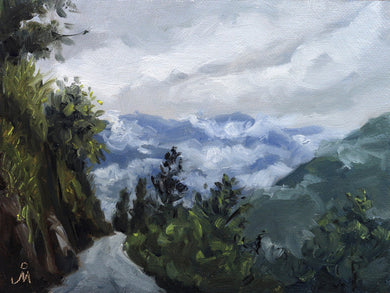 Landscape painting of a road going uphill and downhill in the hilly region of Sikkim.