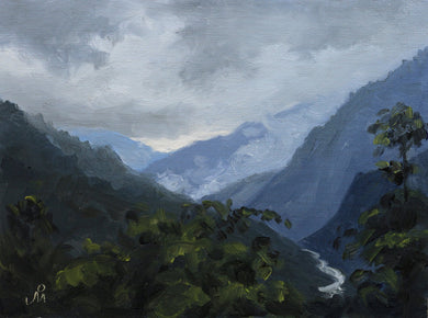 Landscape painting of the hills of Sikkim during monsoon. A river flows in the valley below.