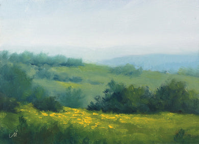 Landscape painting of a green hilltops with wild yellow flowers blooming during monsoon season.