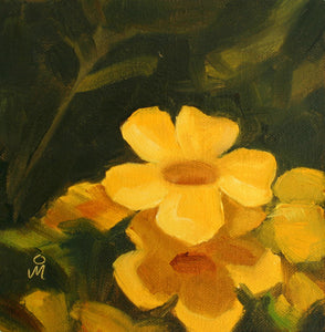 Oil painting of yellow flowers blooming on the tree.