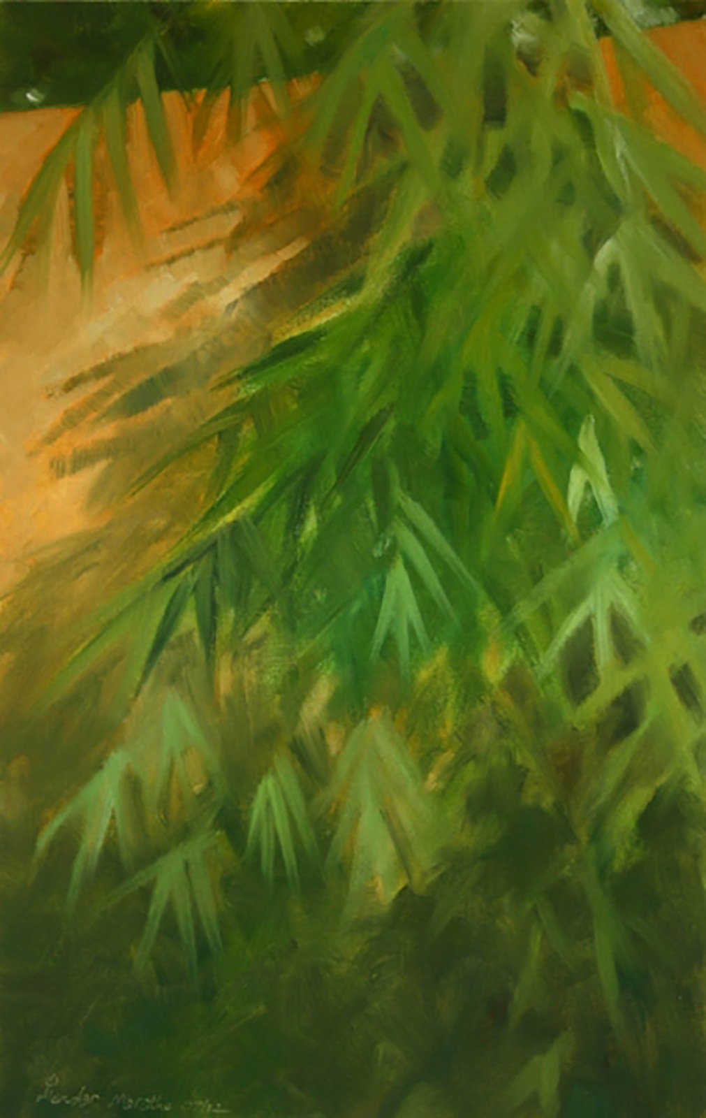 Oil painting showing a zen bamboo tree growing next to a wall.