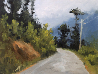 Landscape painting of an road going uphill in the hilly region of Sikkim.