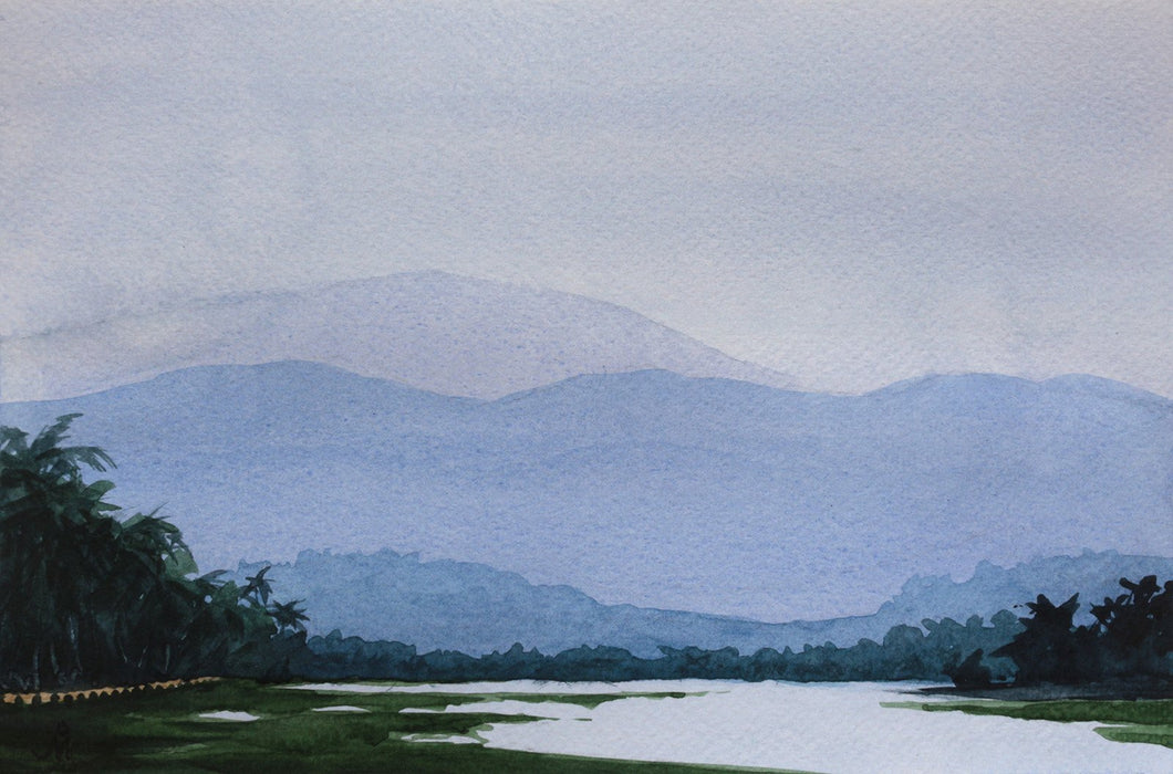 Landscape painting showing Zuari river at Camorli, Goa, against the backdrop of large mountains.