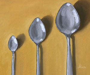 Oil Painting showing three steel spoons of different sizes kept on a yellow background.