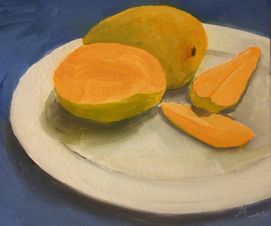 Oil Painting showing one cut and one whole mango kept on a white plate.