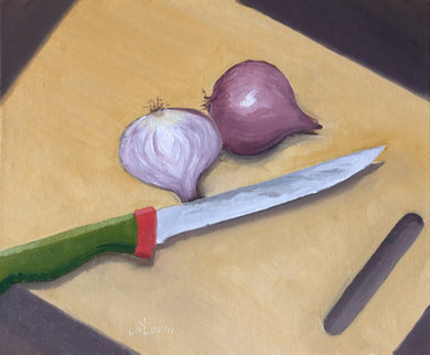 Oil Painting showing two halves showing an onion and a cutting knife kept on a cutting board.