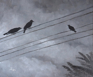 Oil Painting showing three crows sitting on electric wires. Two of those are watching the third crow.