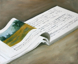 Oil Painting showing an open book with some painting seen on one showing the pages.