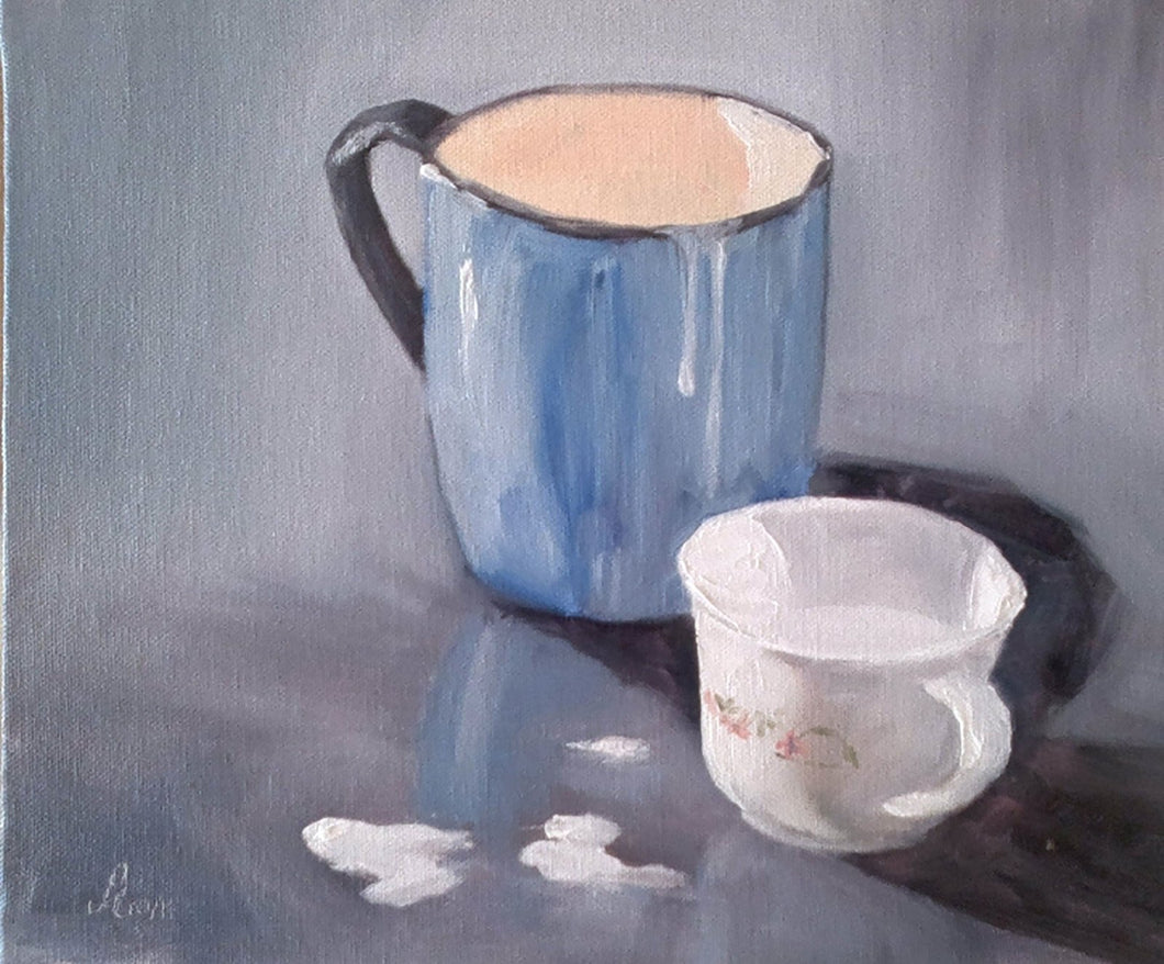 Oil Painting showing one small and one large mugs and some milk spllied on the ground.