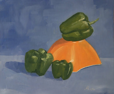 Oil Painting showing three green bell peppers with one one showing those placed on a inverted bowl