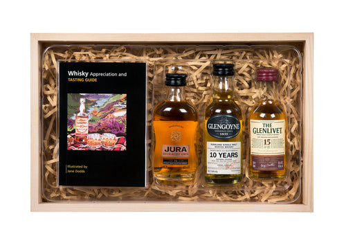 Marque Malt Whiskies 3x5cl with Whisky Guide Wooden Gift Box