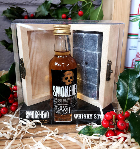 Whisky Stones with Smokehead 5cl whisky