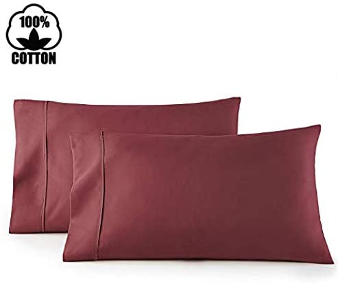 Nish & Joe Set of 2 Pillowcases 400 Thread Count 100% Extra Long Staple Cotton Luxurious Hotel Quality Bedding (King, Burgundy)