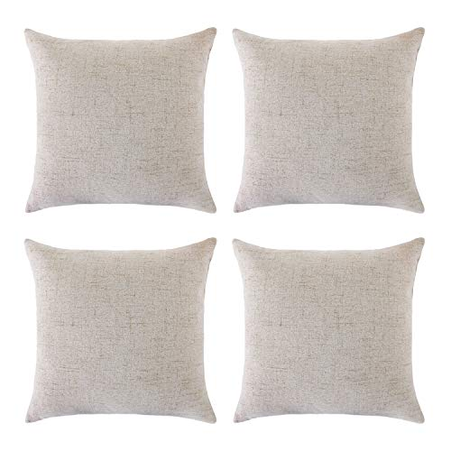 Deconovo Blank Pillow Covers Throw Cushion Cover Faux Linen Look Decorative Pillowcases for Sofa 18 x 18 Inch Cream Set of 4 No Pillow Insert