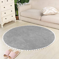LEEVAN Faux Wool Round Rug Shaggy Nursery Rug Cute Pom Pom Fringe Baby Crawling Mat Kids Play Non-Slip Floor Carpet for Living Room Bedroom Sofa Teepee Tent Decor, 4ft-Beige