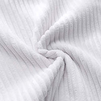 MUDILY Pack of 2 Soft Striped Corduroy Cute Christmas Decorative Square Throw Pillow Covers Set Cushion Cases Pillowcases for Sofa Bedroom, Pure White 16 x 16 inch 40 x 40 cm