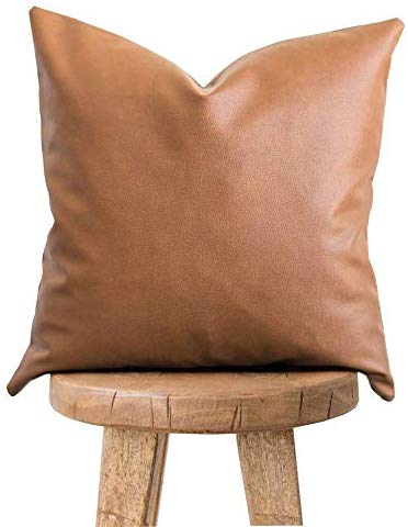 Two Queens Lane Faux Leather Pillowcase Throw Pillow Cover - Modern Boho Chic Brown Faux Leather Decorative Throw Pillows Cases Only for Couch Bed Home Decor | 18x18 Pillow Cover