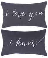 "DecorHouzz I Love u I know Set of 2 Pcs Embroidered Pillow Case Pillow Cover Decorative Pillow Cushion Cover 12""x20"" Couple Wedding Anniversary (Grey)"