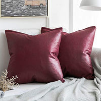 MIULEE Pack of 2 Decorative Faux Leather Modern Pillow Cover Square Luxury Cushion Case Durable Throw Pillow Cover Shell for Couch Sofa Bed Living Room 18x18 Inch Brown