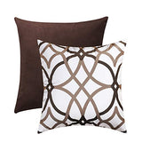H.VERSAILTEX Soft Decorative Handmade Square Throw Pillow Covers Velvet Plush Rich Material for Couch Sofa Bed (18 x 18 inch, 1x Taupe and Brown Geo + 1x Solid Taupe)