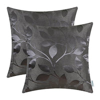 CaliTime Pack of 2 Throw Pillow Covers Cases for Couch Sofa Home Decor Shining & Dull Contrast Vibrant Growing Leaves 18 X 18 Inches Silver Gray