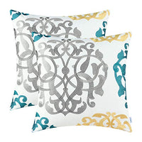 CaliTime Pack of 2 Cotton Throw Pillow Cases Covers for Bed Couch Sofa Vintage Compass Geometric Floral Embroidered 18 X 18 Inches Teal Duckegg Gray