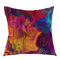 "oFloral Chaotic Waves Pillowcase,Colorful Rainbow with Purple Fuchsia Pink Red Orange Gold Blue Throw Pillow Cover Square Cushion Case for Sofa Couch Car Bed Home Decorative 18"" x 18"" inch"